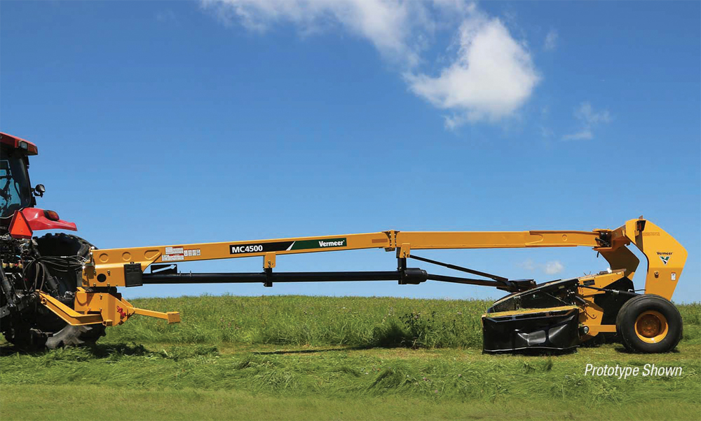 The MC4500 brings the maximum cutting width in Vermeer's line of of mower-conditioners to 15 feet.