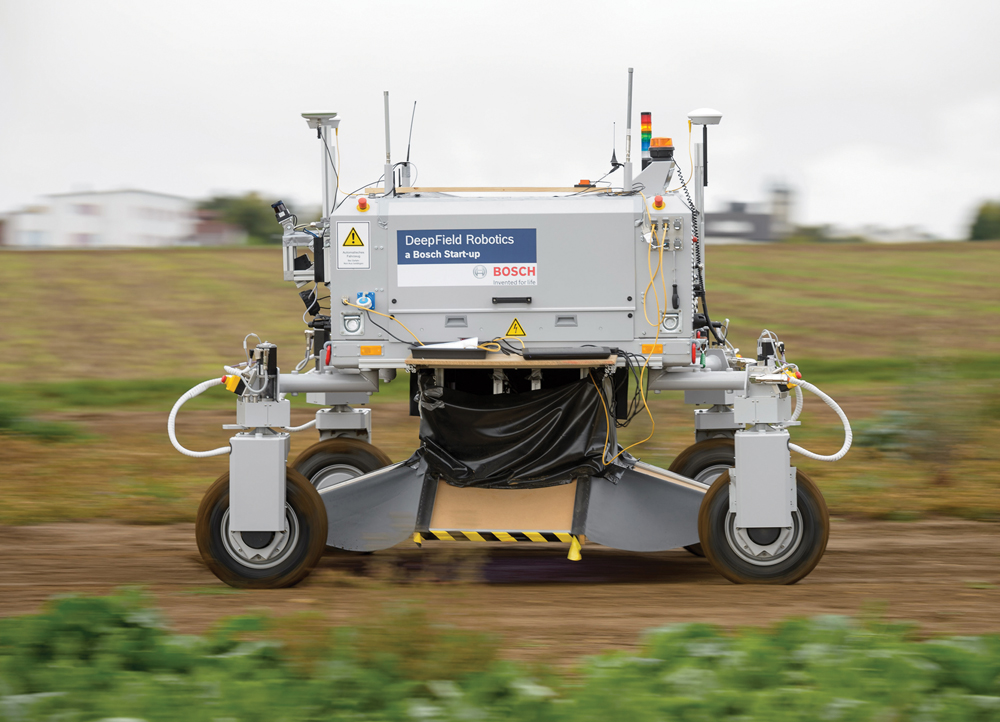 This robot is  designed to work  fields on its own  and mechanically  kill weeds.