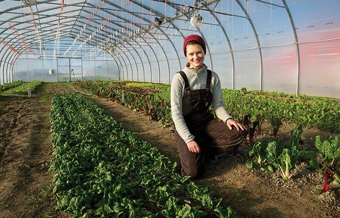 young woman in a greenhouse of growing vegetables