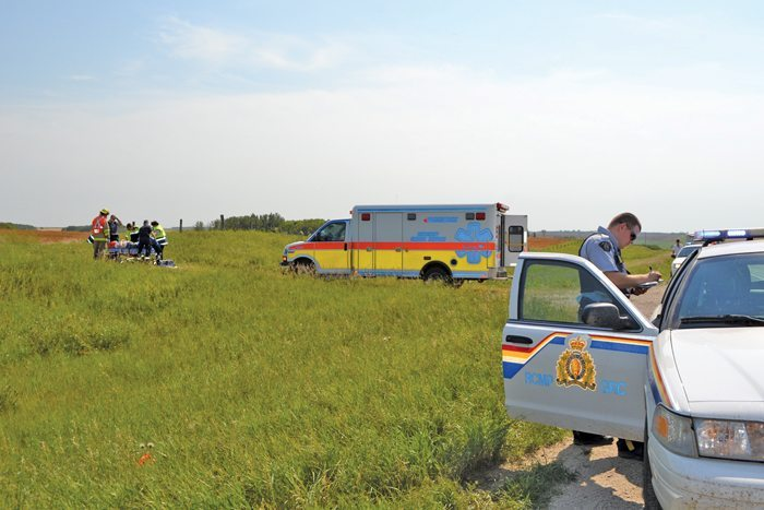 ambulance in a field